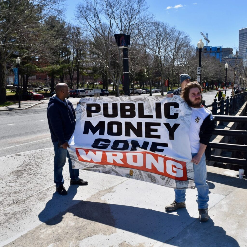 Labor organizations rally against wage theft and employee misclassification Station Row project in Providence