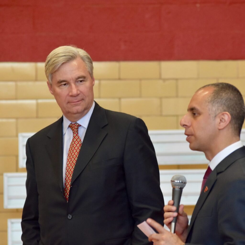 Senator Whitehouse and Mayor Elorza take questions in Providence