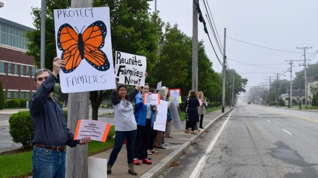Protesters demand end to family separation at Homeland Security office in Warwick