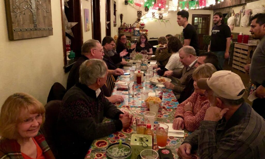 Climate Action RI responds to State Senator Elaine Morgan with dinner at Amigos Taqueria Y Tequila