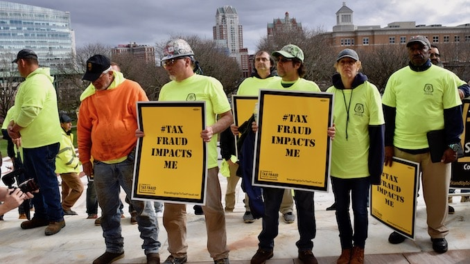 Photo for Elected leaders join Carpenters in rally at State House to call attention to tax fraud