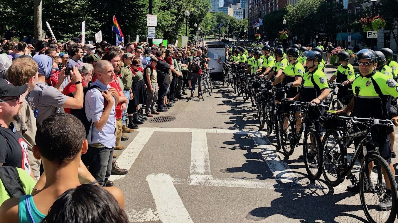 """Photo for Video from the protests against the """"Straight Pride"""" Parade in Boston"""