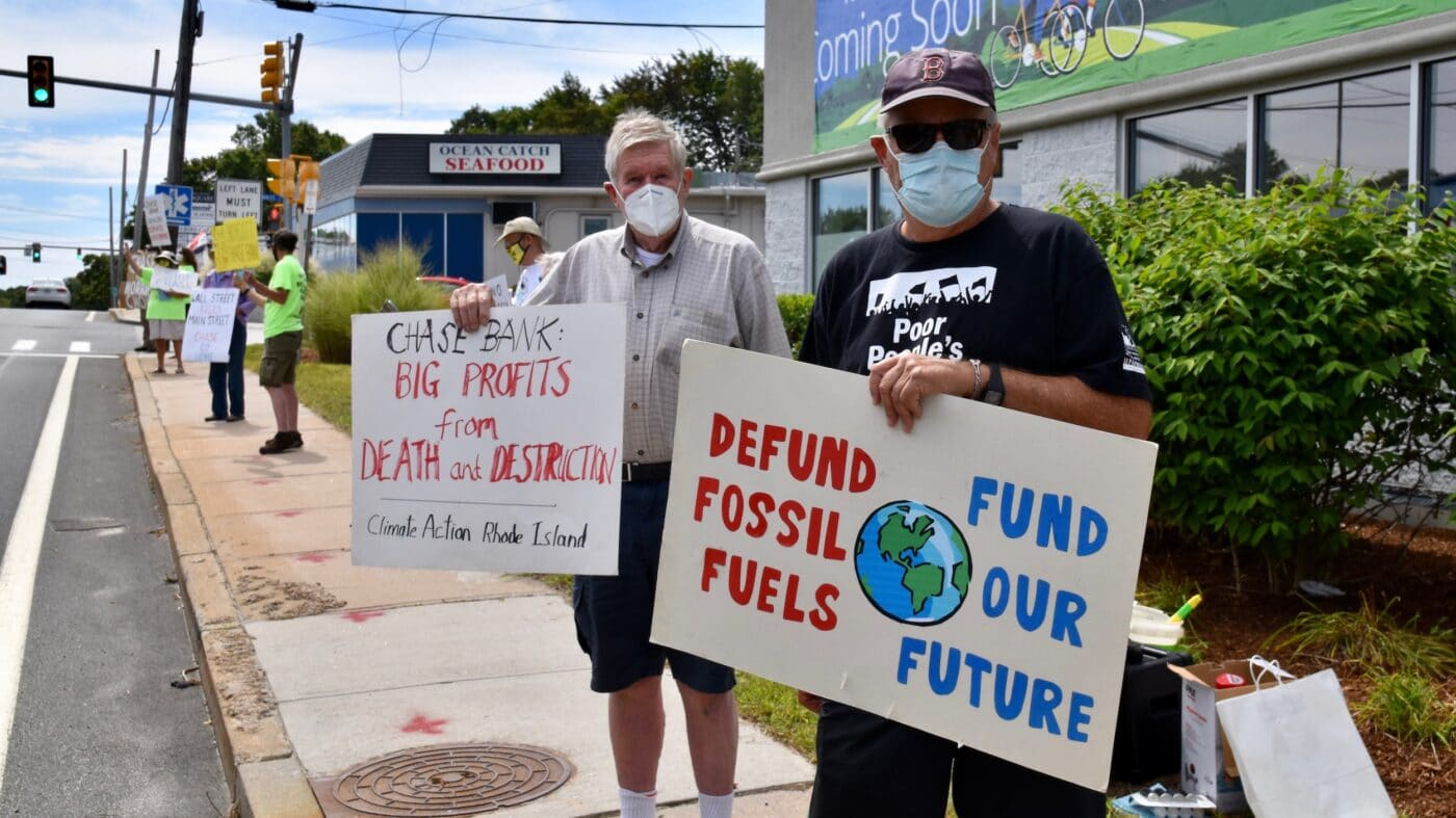 Climate Action RI protests outside Chase Bank Branch in Wakefield