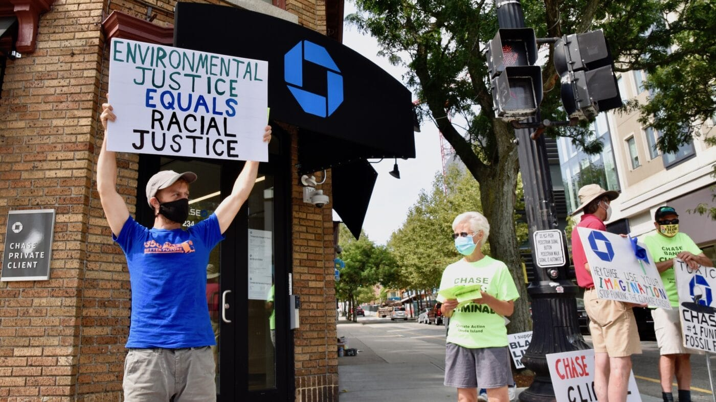 Climate Action RI peacefully protests Chase Bank – Chase Bank calls the police