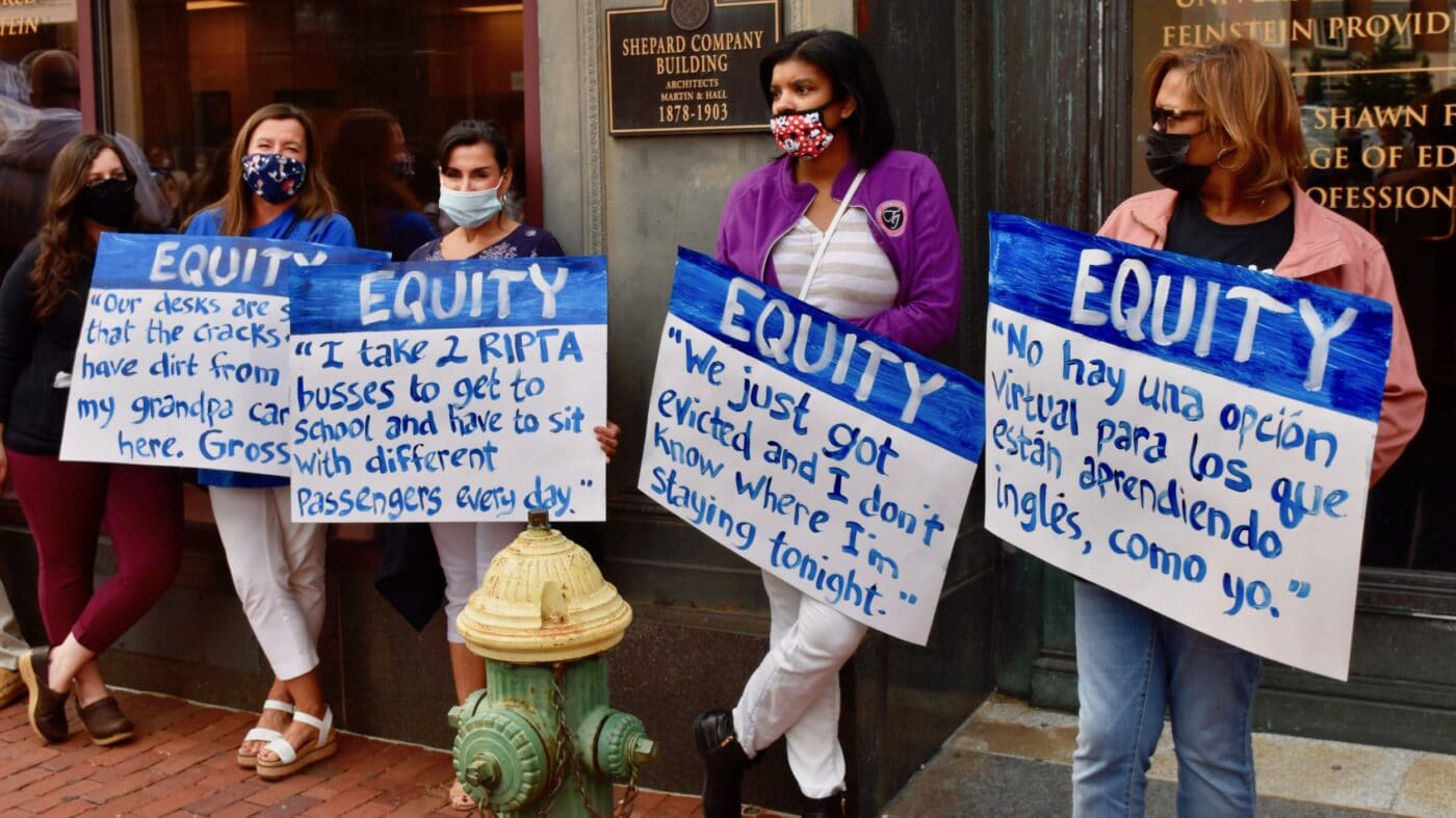 Providence teachers protest Covid-unsafe schools and unsound home learning option