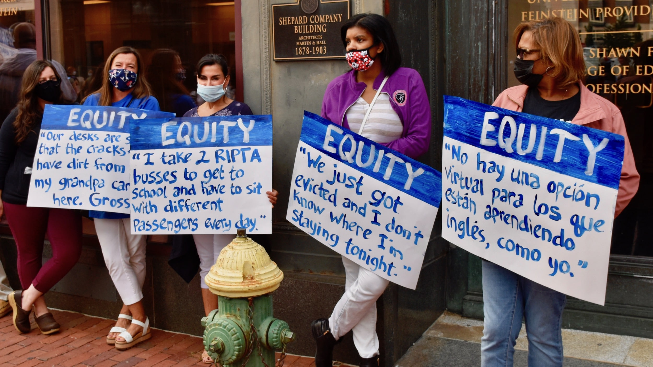 Photo for Providence teachers protest Covid-unsafe schools and unsound home learning option