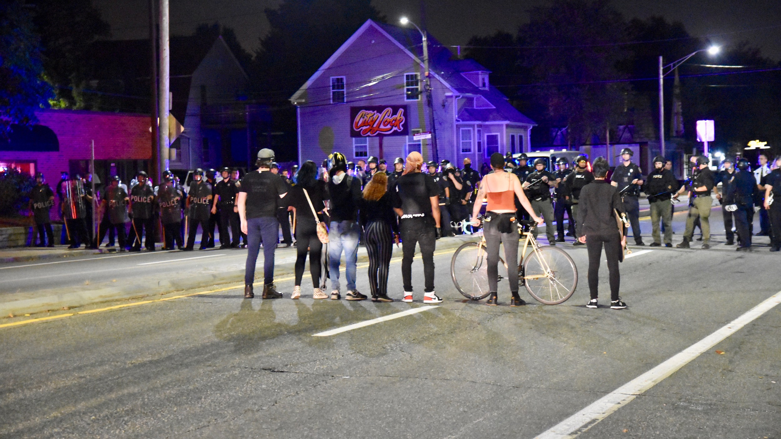 Photo for Police clash with protesters at PVD/Cranston border