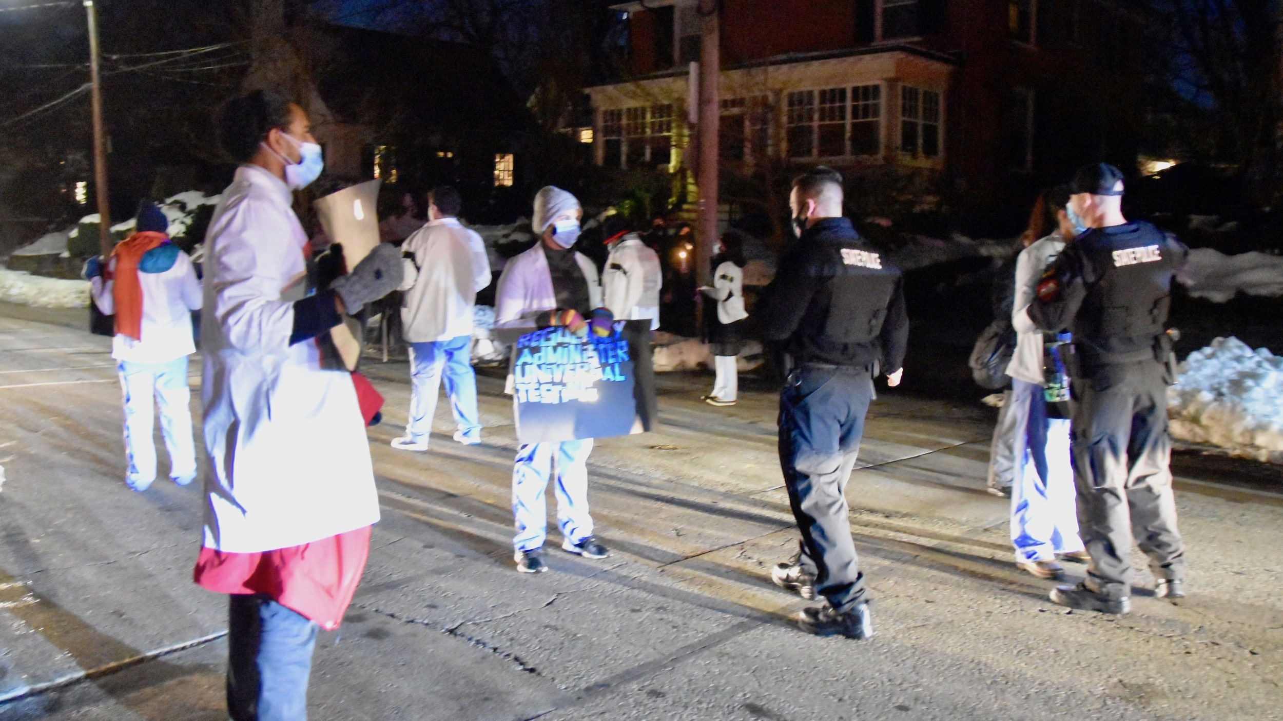 Photo for Six arrested outside Governor Raimondo's home protesting conditions at the ACI
