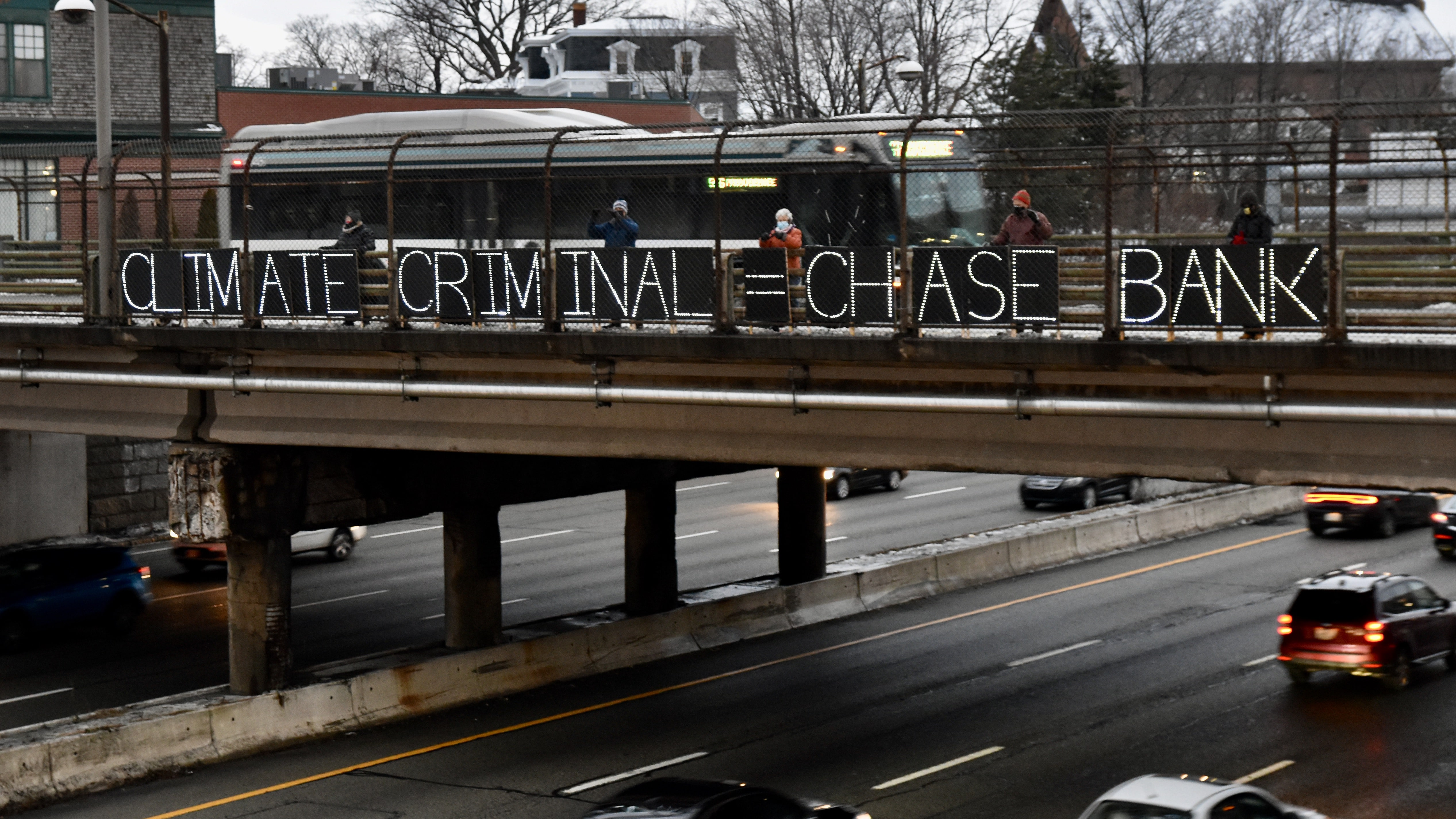 Photo for CLIMATE CRIMINAL = CHASE BANK says Climate Action Rhode Island