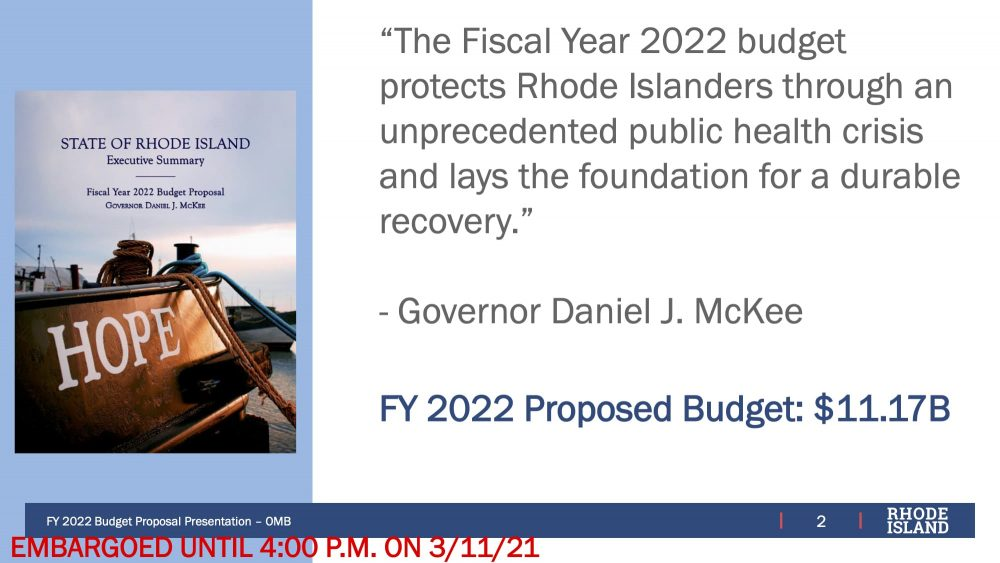 Governor McKee unveils his proposed FY 2020 budget and cannabis legalization plan