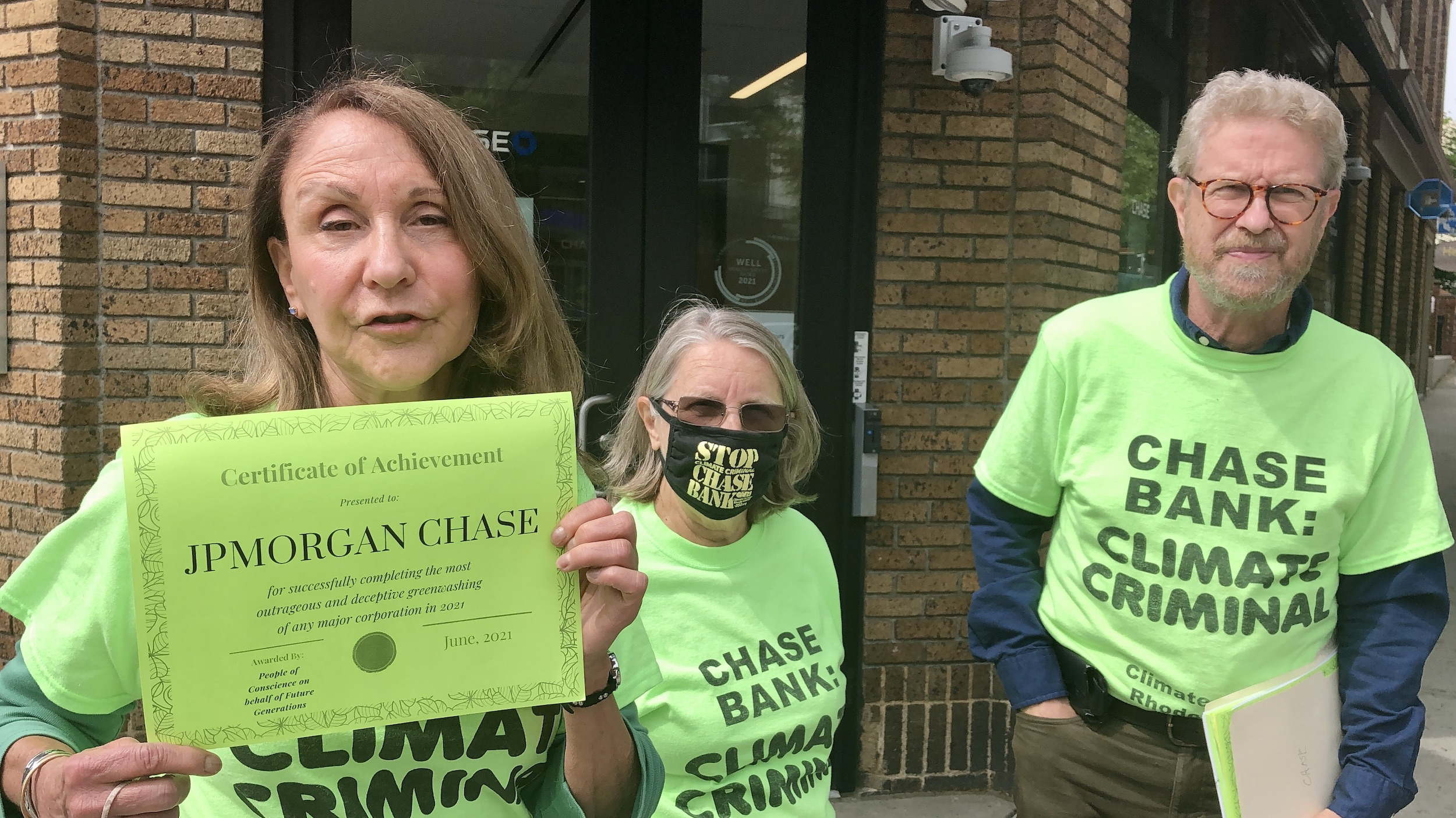 Photo for Climate Action RI issues greenwashing award to Chase Bank branches throughout the state