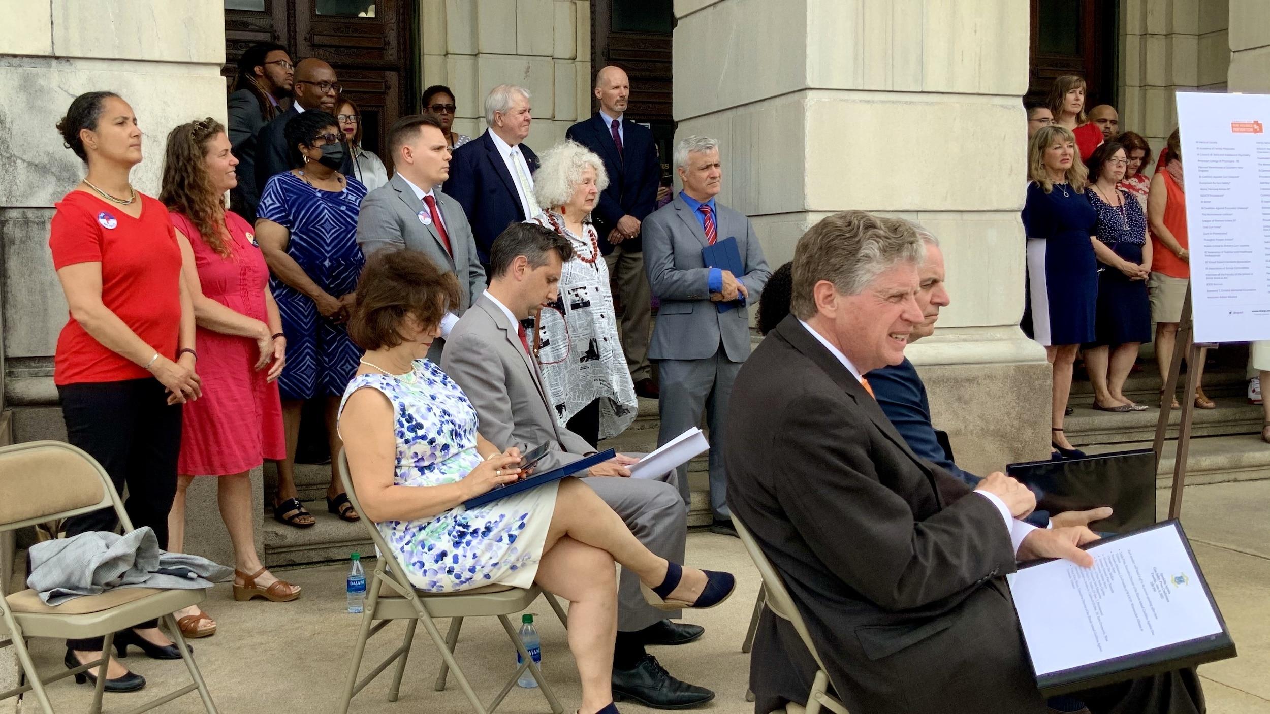 Photo for RI elected leaders favor AG's package of gun safety legislation