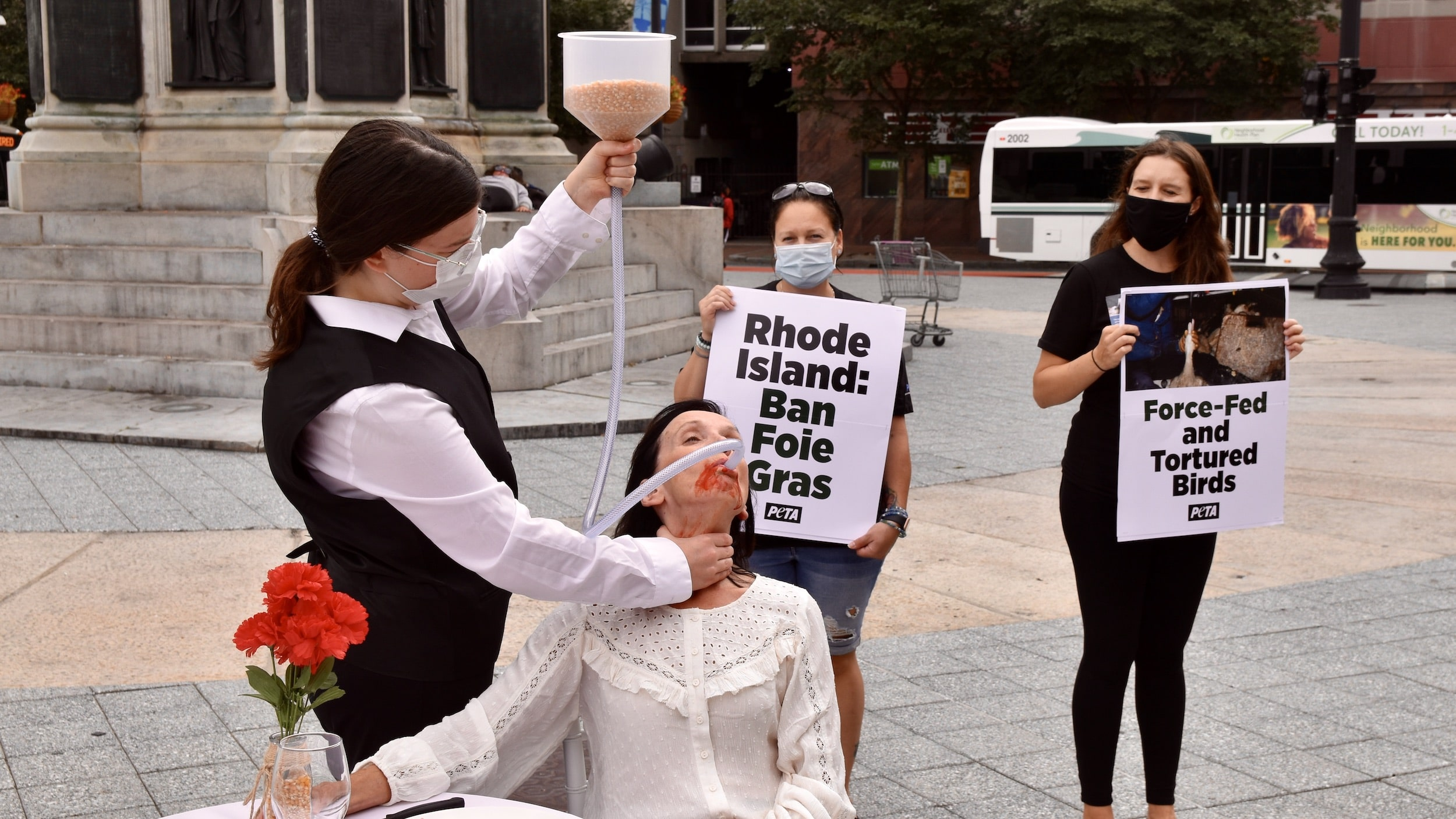 Photo for Woman force-fed grains in Kennedy Plaza as part of PETA foie gras protest