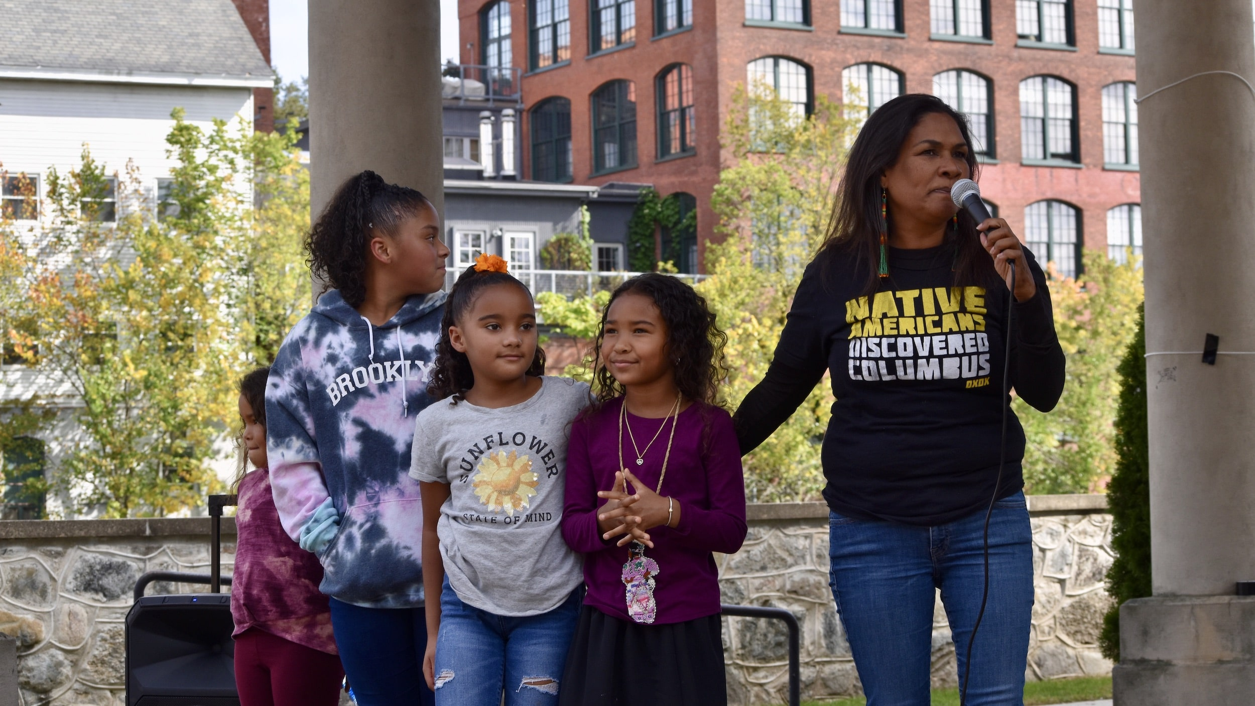 Photo for Indigenous people and allies protest new Blackstone statue and Columbus Day in Pawtucket